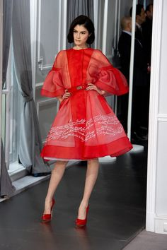 Bell sleeves and red silk organza  Christian Dior Spring 2012 Couture. Gorgeous.