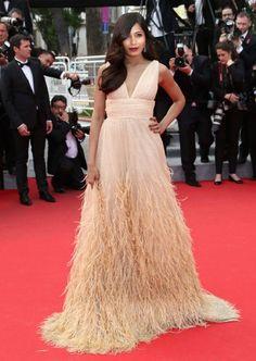 Freida Pinto style, red carpet fashion, Cannes