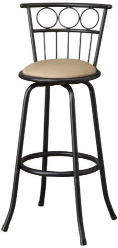 """Poundex Eaden Swivel Barstool with 24-Inch Height or 29-Inch Height Adjustable Height, Set of 2 by Poundex. $49.20. Adjustable 24""""h and 29""""h seat. Durable metal frame legs. Microfiber seat cushion and back support. The ''Glow'' barstool collection features a selection of two contemporary styled chairs with round upholstered seat cushions framed in a dark metal finish with circle accents."""