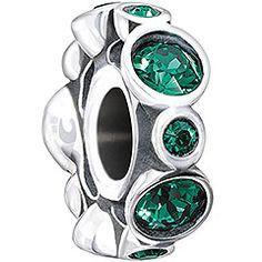 pandora charm, emerald, charm bracelet, chamilia bead, birthston jewel