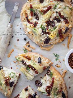 Chicken Tzatziki Pizza #recipe on foodiecrush.com