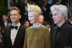 Tilda, with the tallest hair.  Tilda, Hair Queen, accompanied by Jim Jarmusch, Duke of Messy Hair.