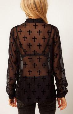 Black Lapel See-through Long Sleeve Blouse