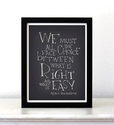 Harry Potter movie quote poster We must all face by SimpleSerene, $15.00