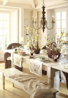 Pottery barn table on pinterest wood table tops pottery for Informal dining room decorating ideas