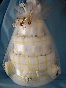 Wedding Cake - made from dish towels and wash cloths