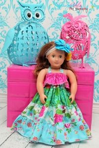 """Coras Tiered Top, Sun Dress and Maxi Dress 18"""" Doll Size PDF Sewing Pattern by Create Kids Couture"""
