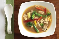 Microwave Asian Chicken Soup-This is a delicious, easy and quick recipe for a hearty and healthy meal. It uses frozen stir-fry vegetables and instant brown rice cooked in the microwave to make a quick meal. It is also a healthy, low calories, low fat, low cholesterol, low carbohydrates, low sugars, diabetic and WeightWatchers (7) PointsPlus recipe. Makes (4) (1-3/4 cup) Servings.