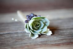 Simple succulent boutonniere //  Photography by jennabeth.com