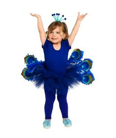 24 Homemade Kids' Halloween Costumes: No-Sew DIY Cobalt Peacock Costume #costume #halloween