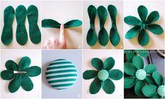 flore, artesanato handmad, craft idea, diy felt flowers tutorial, hair bows, felt flower tutorial, fieltro diy, green flowers, algundia lo