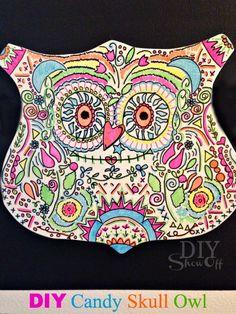 DIY Neon Sharpie Candy Skull Owl Tutorial