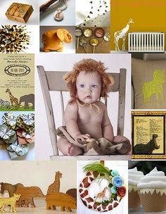African safari animals baby shower party birthday children kids infant brown yellow orange invitations cupcakes