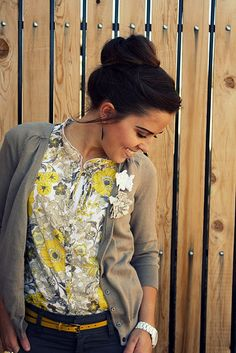 dove gray cardi, yellow floral, navy, yellow belt, hair