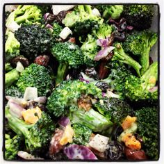 Homemade broccoli salad!  Just made this and it is YUMMY.  5 to 6 cups fresh broccoli florets 1/2 cup raisins 1/2 cup sunflower seeds 1/2 cup cooked, crumbled bacon 1/4 cup of red onion, chopped 1 cup of frozen peas, thawed . Dressing: 1 cup mayonnaise 2 tablespoons vinegar 1/2 cup sugar, or to taste.