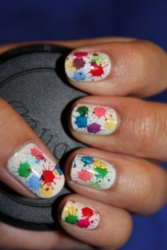 Paint Splatter!    Konad Plate m21    Maybeline Express Finish - French Tip White  Konad Special Polish - Purple Pearl  Konad Special Polish - Red  Konad Special Polish - Green  Sally Hansen Insta-Dri - In-a-blink Blue!  Sinful Colors - Canary Yellow  Jordana - Tangy  Sinful Colors - Happy Ending  Revlon - Cherries in the Snow  Sally Hansen Hard as Nails Xtreme Wear - Pacific Blue