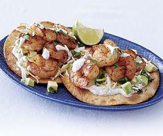 Tequila-Chipotle Shrimp Tostadas with Lime and Sour Cream sour cream, shrimp tostada, tequilachipotl shrimp, food, chipotle, blog, limes, tortillas, tostadas