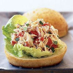 Tuna Tortas with Pico de Gallo: Cilantro and lime brighten the flavor of canned tuna in this Mexican-style sandwich.
