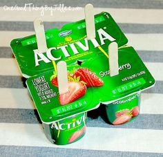 Make your own frozen yogurt pops.