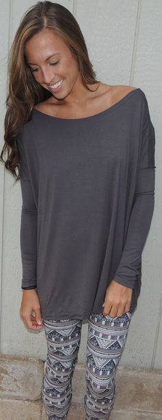 Grey Piko Top #ShopMCE  I want to just throw everything I own in  the trash except outfits like this...some day.