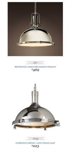 #Copycatchicfinds #RestorationHardware Harmon #Pendant $469 - vs - #Overstock #Chrome Ceiling #Lamp $223