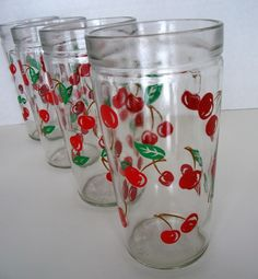 Set of 4 Drinking Glasses with Cherries...