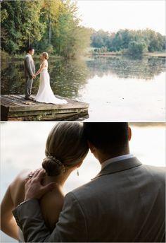 newlyweds having a moment to themselves on dock by lake #lakewedding #newlyweds #weddingchicks http://www.weddingchicks.com/2014/01/29/thrift-savvy-wedding
