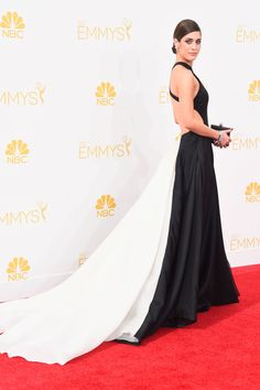 Lizzy Caplan in Donna Karan Atelier. See all the best dressed celebrities from the 2014 Emmy's here.