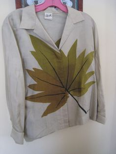 Vintage Vera Neumann Signed Silk Blouse Leaf by LucysClosetVintage, $24.99