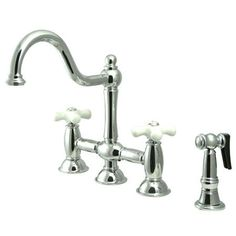 Love this shepherd's crook bridge faucet with porcelain cross handles (wayfair.com)
