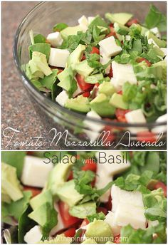 Recipe For Tomato Mozzarella Avocado Salad with Fresh Basil - This salad has such simple flavors but the way they come together with the Creamy Balsamic Vinaigrette just can't be described!