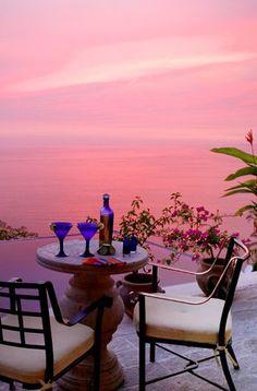 Pink sunset at Puerto Vallarta