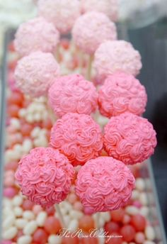 Beautiful rose pom-pom cakepops