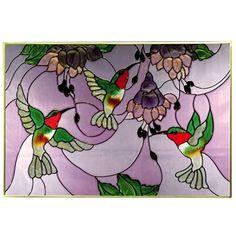 : Ruby Hummingbirds Art Glass Panel