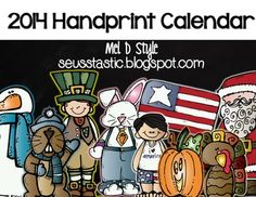 Handprint Calendar Gift using Melonheadz graphics. This product will be updated year after year. If you have 25 students this will literally cost you 20 cents per student!!!