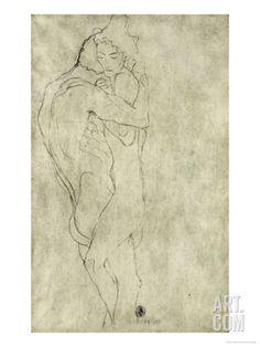 Lovers, Black Crayon (1908) Stretched Canvas Print by Gustav Klimt at Art.com