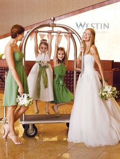 Sweet lime green bridesmaid dress -  Green and white wedding colour scheme.