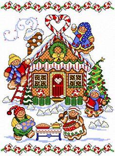 Gingerbread House cross stitch pattern.