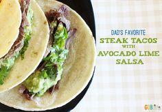 Steak Tacos with Avocado Lime Salsa