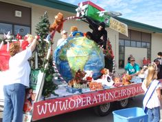 Our Operation Christmas Child float in the Bear Paw Parade in Eagle River Alaska.