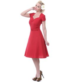 Heartbreaker 50's Style Lynette Red Aimee Sweetheart Dress - Unique Vintage - Prom dresses, retro dresses, retro swimsuits.