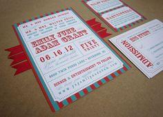 red and aqua carnival striped wedding invitation