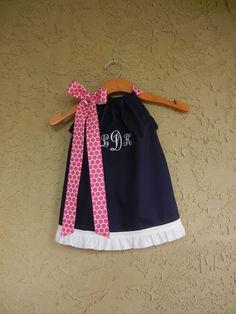 Monogrammed Navy Pillowcase Dress sizes 3m to 6T por theuptownbaby