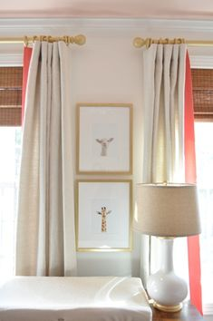 curtain detail; flax linen panels with a 4 inch banding of coral linen + the dainty wall prints love !