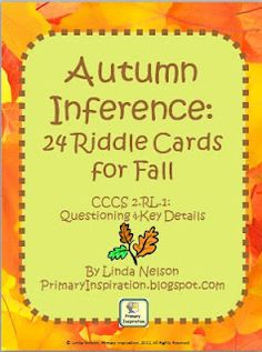 Set of 24 autumn-themed riddle cards for practice in locating key details. Also includes game board. CCCS-aligned.