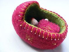 Felted baby cradle