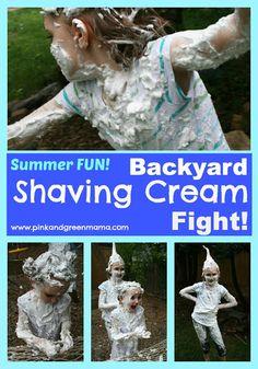 Backyard Shaving Cream Fight Fun! from Pink and Green Mama