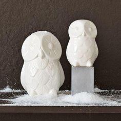 White ceramic owls