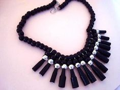 BLACK PAPER BEAD NECKLACE, how to diy jewelry making