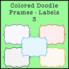 Colored Doodle Labels or Frames 3 - 12 Different colors